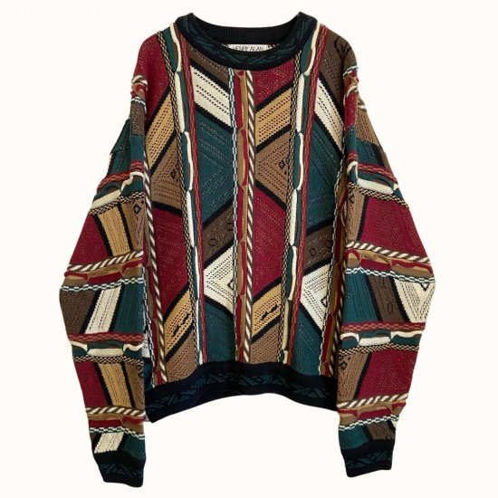 multi coloring 3D abstract design knit