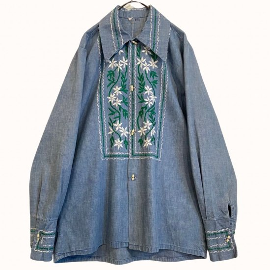 special flower embroidery vintage Guatemala shirt