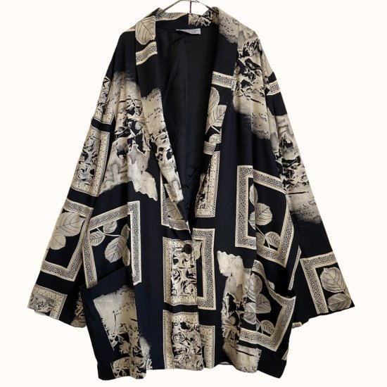 painting flower design loose easy tailored jacket
