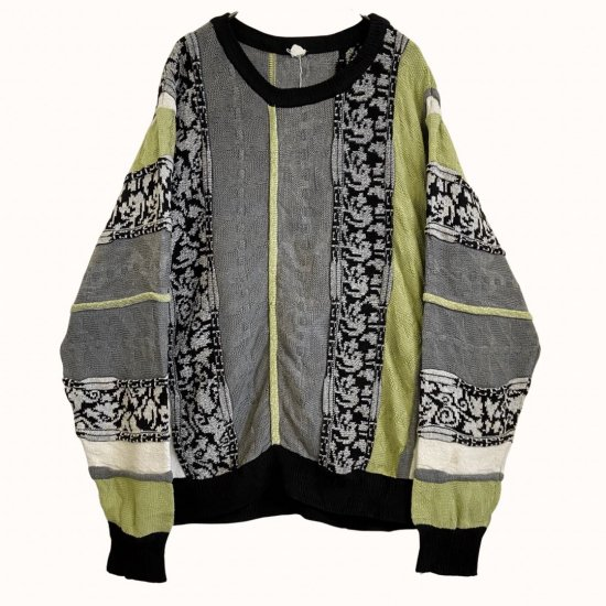 lime green switch color 3D design knit pullover