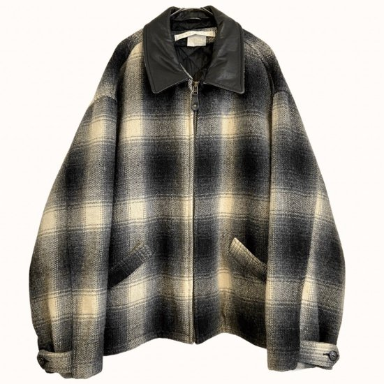 leather switch ombre check wool jacket