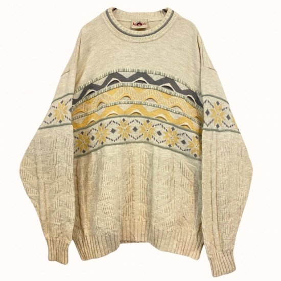 ivory tone nordic 3D design knit pullover
