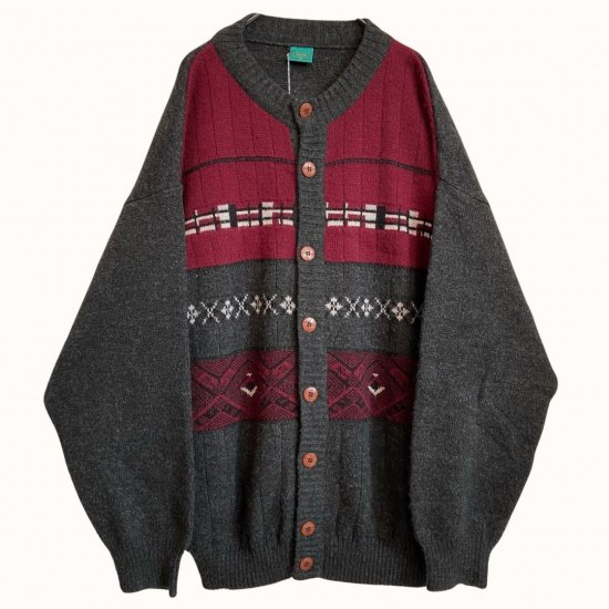 abstract pattern round neck knit cardigan