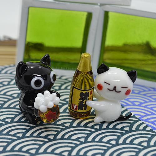 【ガラス細工】のんべえネコ