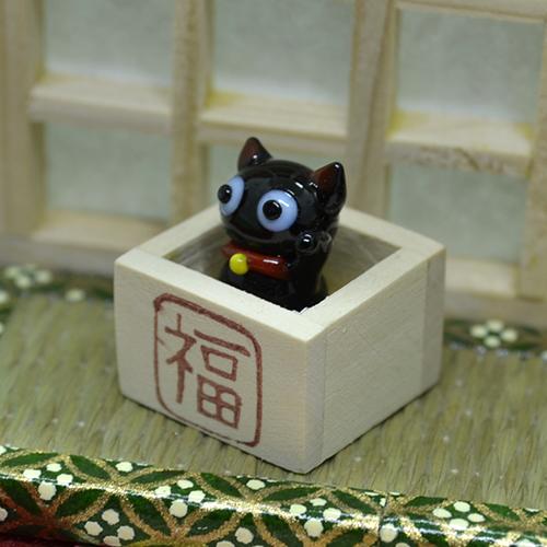 【ガラス細工】枡入り黒猫