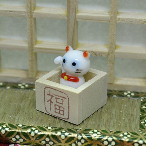 【ガラス細工】枡入り白猫