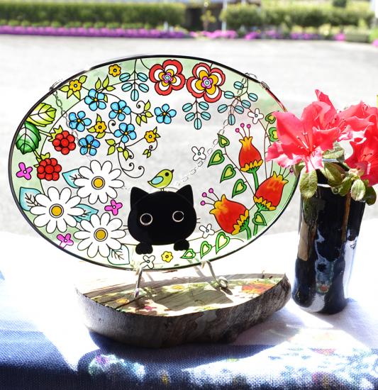 【ガラス細工】ステンドフレーム猫とお花楕円