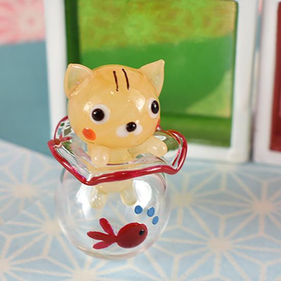 【ガラス細工】金魚鉢ハマリブサネコ