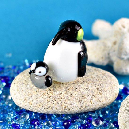 【ガラス細工】エンペラーペンギンとヒナ