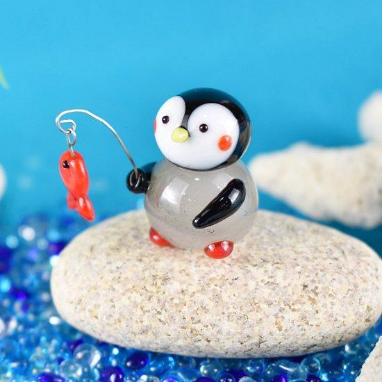 【ガラス細工】釣りペンギン