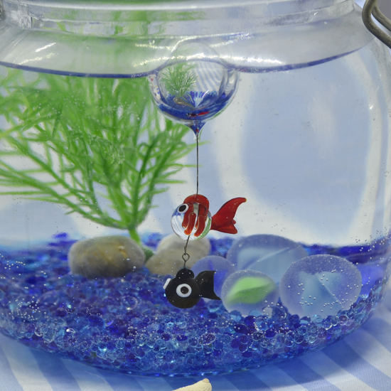 【ガラス細工】浮玉金魚とでめきん