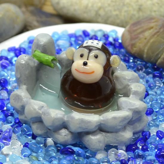 【ガラス細工】露天風呂サル