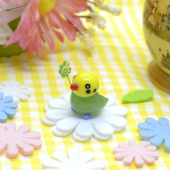【ガラス細工】幸せクローバーインコGR
