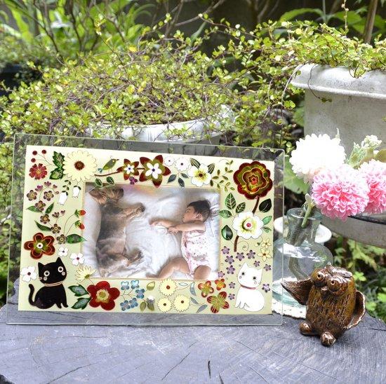 【ガラス細工】フォトフレーム:花園の猫