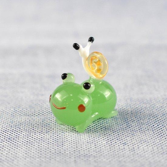 【ガラス細工】ねそべりカエルとかたつむり