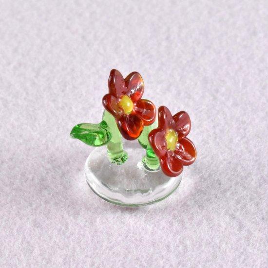 【ガラス細工】赤いお花