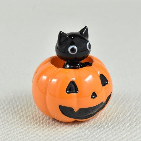 【ガラス細工】かぼちゃ入りクロネコ