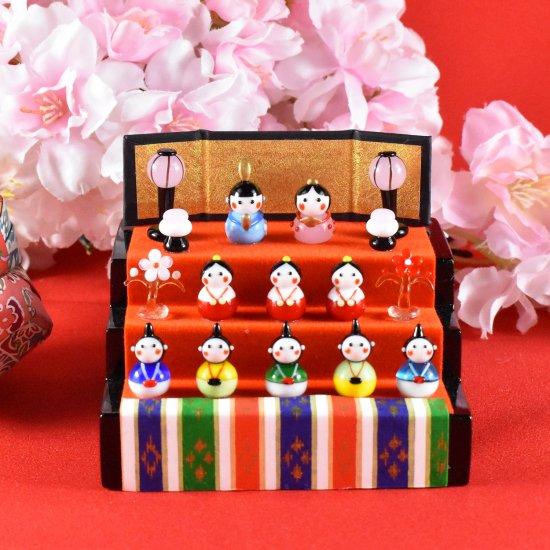 【ガラス細工】春の豆雛三段飾り