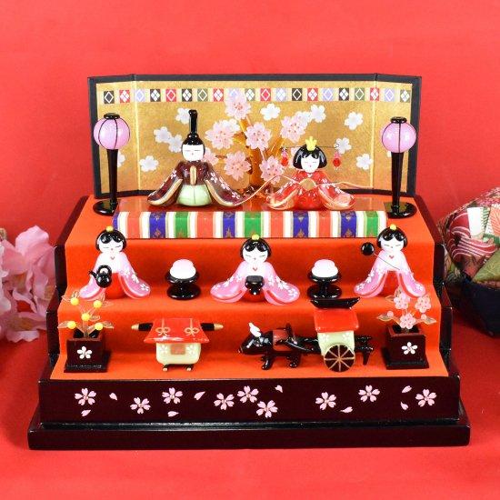 【ガラス細工】桜舞い雛三段飾り