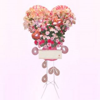 ハートバルーンスタンド花
