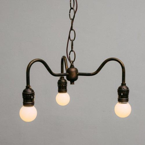 OPL004-A<br>3 BULBS LIGHT - Black Brass / 真鍮3灯照明