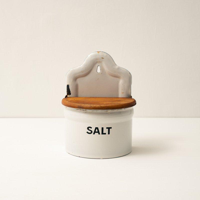 CASE SALT<br>ホーロー 調味料入れ ホワイト ソルト