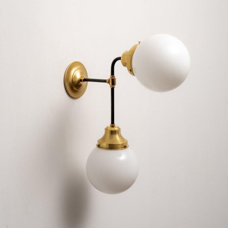 【再入荷】OBL040B<br>GLASS SHADE BRACKET LAMP / 真鍮2灯ガラスシェードブラケットランプ