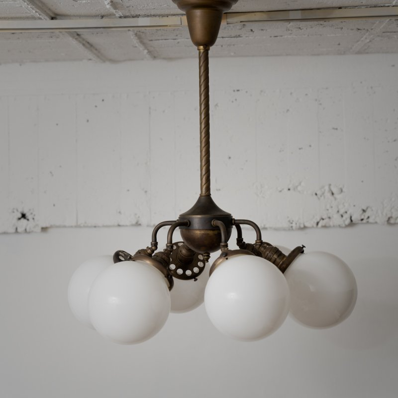 OCH018<br>INDUSTRIAL POLE CHANDELIER - Black Brass / 真鍮6灯照明