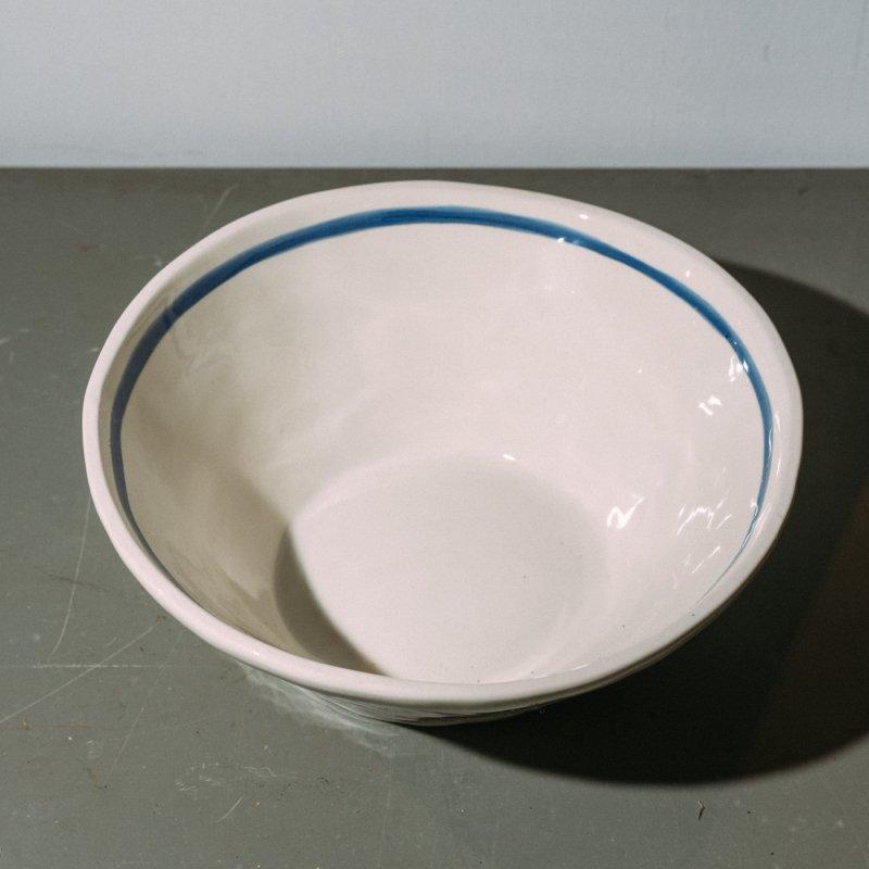 BOWL  <br>ボウル ホワイト ブルーストライプ 直径 29.0cm