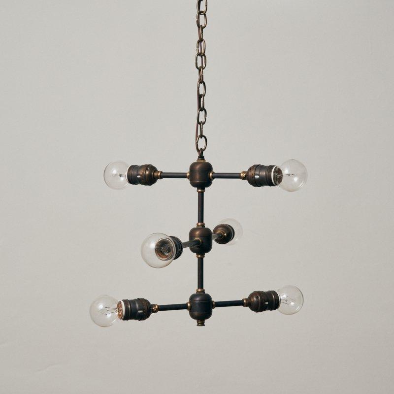OCH005B-A<br>6 BULBS LIGHT - 3step Black brass / 真鍮6灯照明シャンデリア