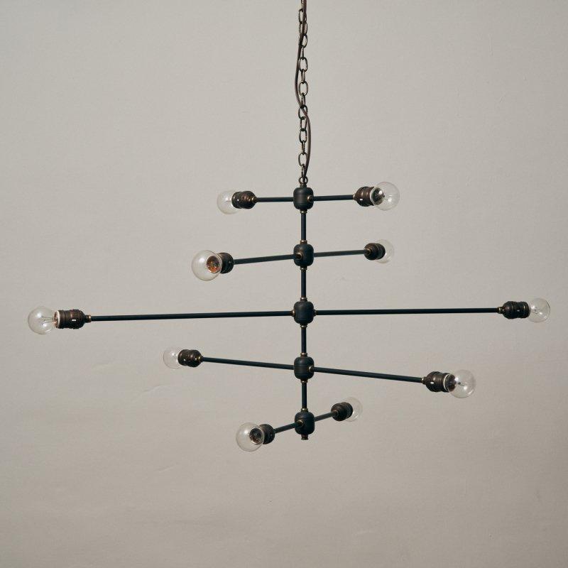 OCH006B-A <br>10 BULBS LIGHT - 5step Black brass / 真鍮10灯照明シャンデリア <br>
