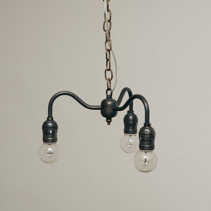 OPL004C-A<br>3 BULBS LIGHT - Black Brass / 真鍮3灯照明