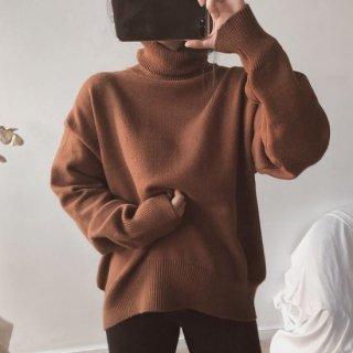 プルオーバー ニット セーター タートルネック シンプル