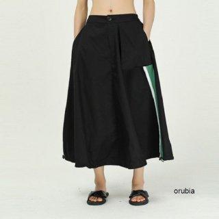 スカート フレア サイドライン 配色 デザイン ワイド ポケット ストリート グリーン プリント コントラスト カラー Aライン スイングスカート ボリュームスカート