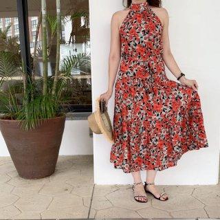 リゾート ワンピース 花柄 ホルターネック ウエストリボン フレア レディーライン フラワー ビーチ ドレス