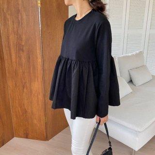 ロンT Tシャツ 長袖 ベーグルT フリル 切替 シンプル 可愛らしさ フレア 韓国 シャツ ブラウス