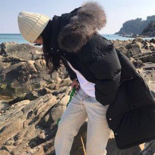 ダウンジャケット ボリューム ラクーンファー フード ロング 韓国 真冬