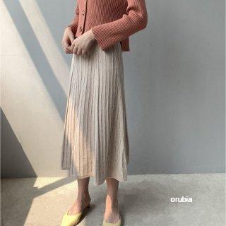 ニットスカート プリーツ フレア ロング マキシ丈