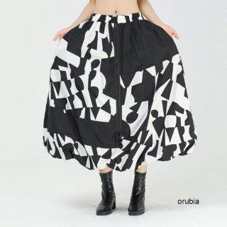 スカート  幾何学模様 フロントジッパー ロングフレア イレギュラー ボトムス ランタンスカート 個性的