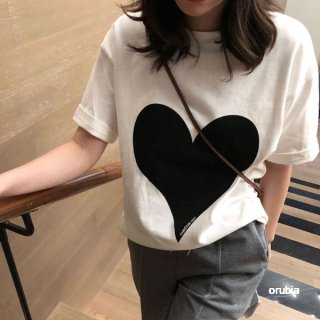 Tシャツ 半袖 ハート カットソー シャツ トップス  ラウンドネック シンプル モノクロ