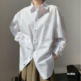 ビックシルエット シャツ ブラウス 長袖 カジュアル ルーズ トップス ゆったり 羽織 シンプル オーバーシルエット