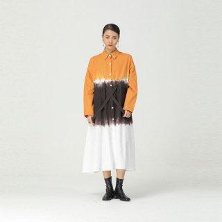 シャツワンピース グラデーション マーブル バイカラー ロングシャツ オーバーサイズ マキシ丈 長袖