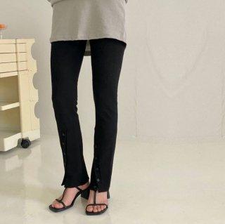 レギンス ボタンサイドスリット スリムフィット パンツ ボトム 伸縮性 スパッツ 重ね着 韓国