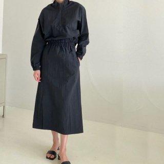 セットアップ ジップアップ デザイン トップス スカート ナイロン ドロップショルダー スポーティー 韓国
