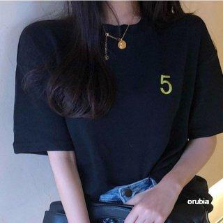 ロゴ Tシャツ 半袖 no.5 ルーズ ロゴT ボトミング シック トップス カジュアル