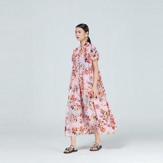 ワンピース ティアード 半袖 花柄 フレア Aライン スタンドカラー ボリューム オーバーシルエット