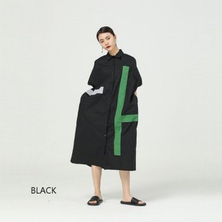 ワンピース シャツ カラーステッチ ロング 半袖 コントラストカラー アシンメトリー ドレスワンピ ブラック ホワイト 柄 体型カバー ゆったり