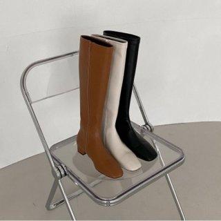 ロングブーツ ローヒール スクエアトゥ フルジッパー 履きやすい シンプル フェイク レザー