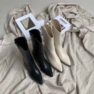ウエスタンブーツ ミドル ブーツ ポインテッドトゥ シンプル ブーツ 履きやすい