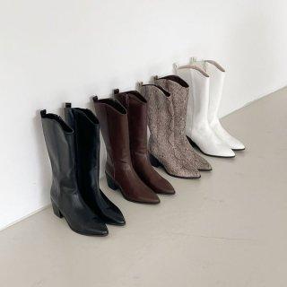 ウエスタンブーツ ロングブーツ ミドル ブーツ ポインテッドトゥ シンプル パイソン柄 ミディアム丈 履きやすい